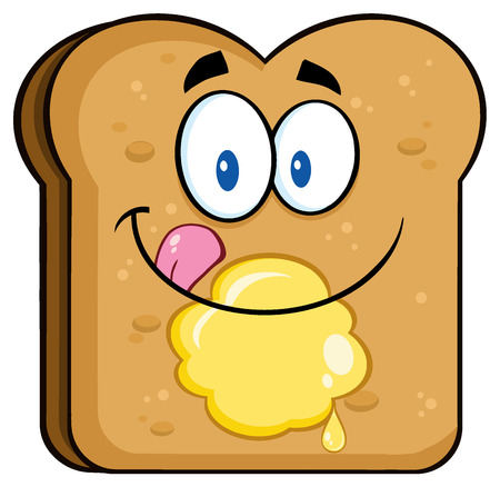 licking: Happy Toast Bread Slice Cartoon Character Licking His Lips With Butter