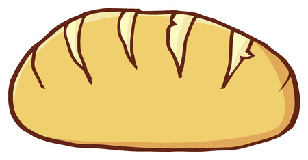 french toast: Hand Drawn Cartoon Loaf Bread. Illustration Isolated On White Background