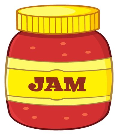 sweet sauce: Cartoon Jar With Jam. Illustration Isolated On White Background