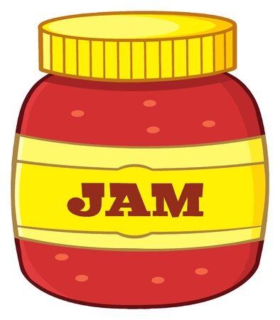 Cartoon Jar With Jam. Illustration Isolated On White Background