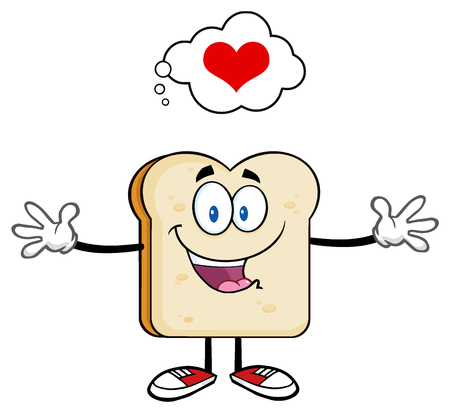 Happy Bread Slice Cartoon Character With Open Arms And A Heart