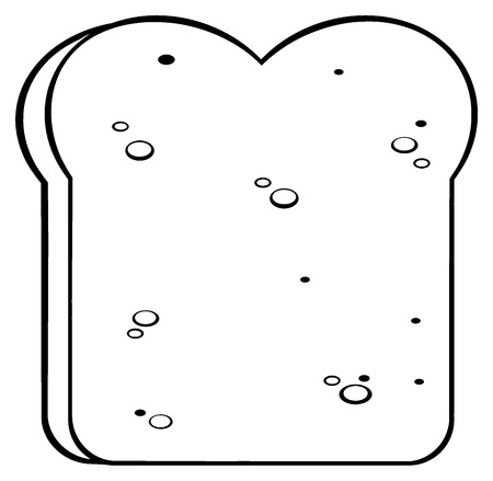 white bread: Black And White Cartoon Bread Slice. Illustration Isolated On White Background