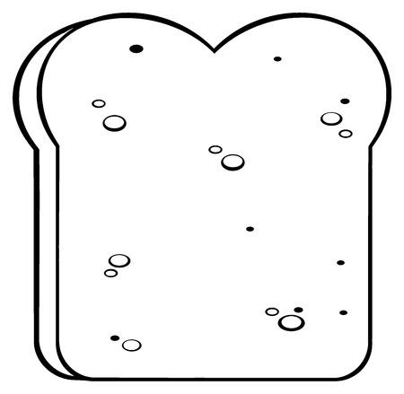 Black And White Cartoon Bread Slice. Illustration Isolated On White Background
