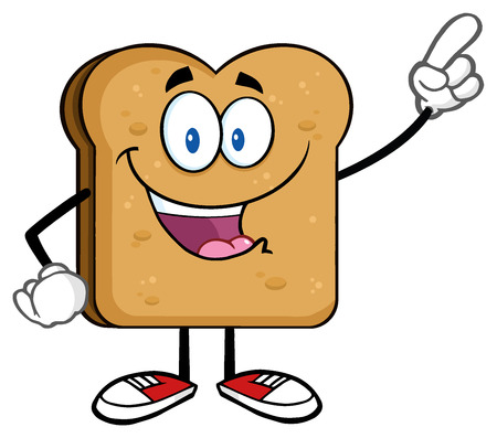 Happy Toast Bread Slice Cartoon Character Pointing. Illustration Isolated On White Background