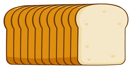 fresh slice of bread: Cartoon Bread Loaf . Illustration Isolated On White Background