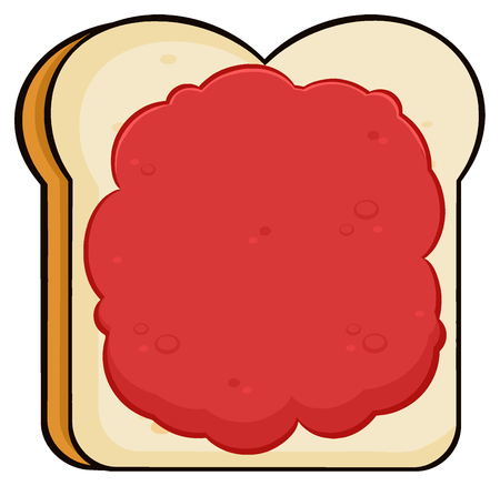 white bread: Cartoon Toast Bread Slice With Jam. Illustration Isolated On White Background