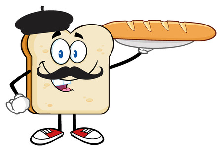 diet cartoon: Bread Slice Cartoon Character With Baret And Mustache Presenting Perfect French Bread Baguette
