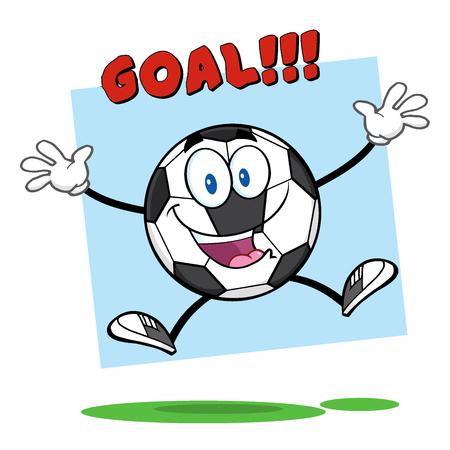 pelota de futbol: Carácter feliz historieta de la mascota del balón de fútbol Saltando con el objetivo de texto. Ilustración sobre fondo blanco