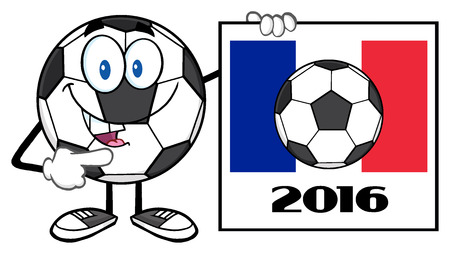 futbol soccer: Pointing Soccer Ball Cartoon Mascot Character Pointing To A Sign With France Flag And 2016 Year Stock Photo