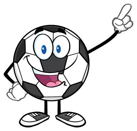 footy: Happy Soccer Ball Cartoon Mascot Character Pointing Stock Photo