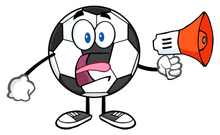 futbol soccer: Soccer Ball Cartoon Mascot Character Using A Megaphone Stock Photo