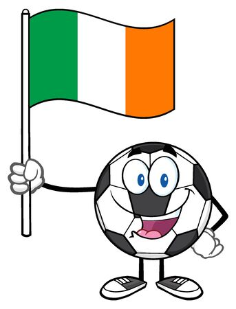 republic of ireland: Happy Soccer Ball Cartoon Mascot Character Holding A Flag Of The Republic Of Ireland