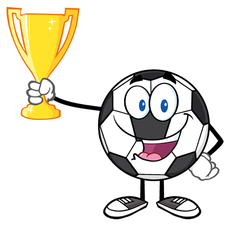 futbol: Happy Soccer Ball Cartoon Character Holding A Golden Trophy Cup Stock Photo
