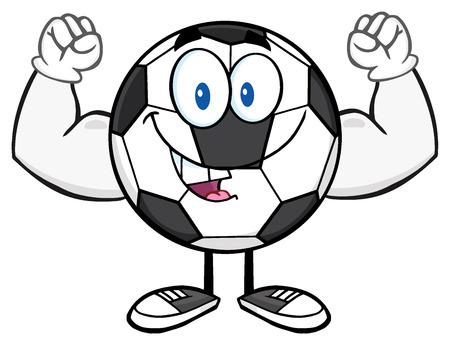 futbol: Happy Soccer Ball Cartoon Mascot Character Flexing