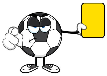 arbitros: La mascota de la historieta del balón de fútbol árbitros de caracteres señala y que muestra la tarjeta amarilla