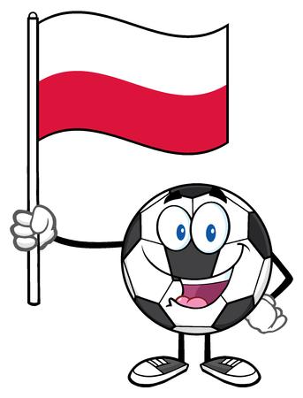 eye ball: Happy Soccer Ball Cartoon Mascot Character Holding A Flag Of Poland