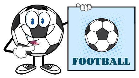 futbol: Talking Soccer Ball Cartoon Mascot Character Pointing To A Sign With Text Football Stock Photo