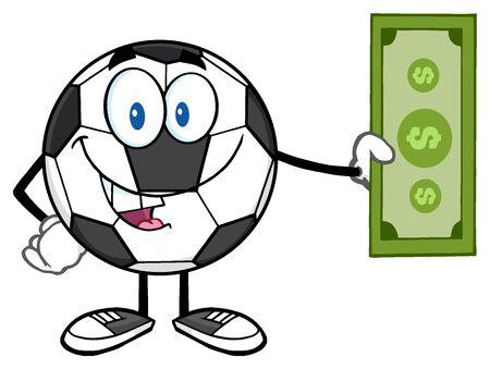 futbol: Happy Soccer Ball Mascot Character Holding Cash Money
