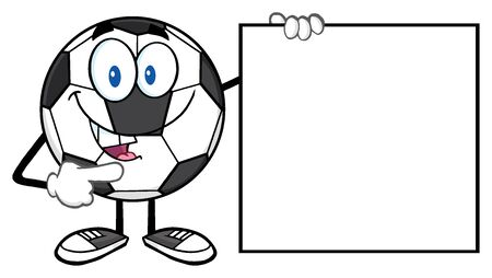 futbol soccer: Talking Soccer Ball Cartoon Mascot Character Pointing To A Blank Sign Stock Photo