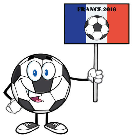 footy: Soccer Ball Cartoon Mascot Character Holding A Sign With France Flag And Text France 2016 Year