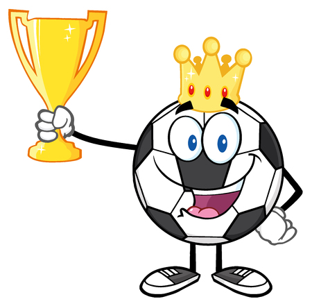 footy: King Soccer Ball Cartoon Character With Crown Holding A Golden Trophy Cup