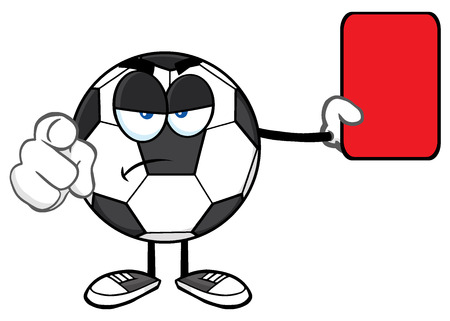 arbitros: La mascota de la historieta del balón de fútbol árbitros de caracteres señala y que muestra la tarjeta roja