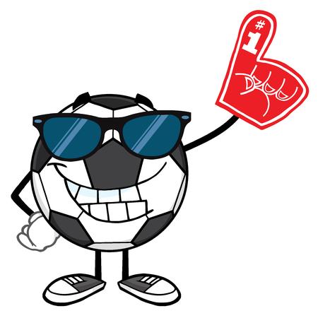pelota caricatura: Sonriendo mascota de la historieta del balón de fútbol personaje con gafas de sol un dedo de espuma