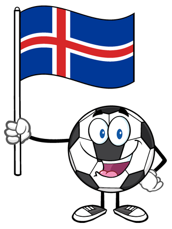 iceland: Happy Soccer Ball Cartoon Mascot Character Holding A Flag Of Iceland