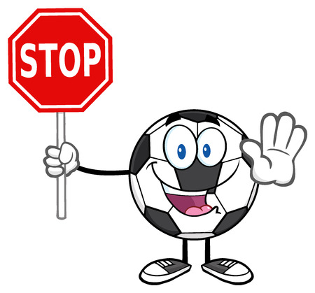 stop: Funny Soccer Ball Cartoon Mascot Character Gesturing And Holding A Stop Sign Stock Photo