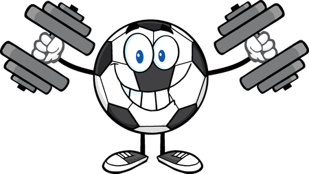 futbol: Smiling Soccer Ball Cartoon Mascot Character Working Out With Dumbbells Stock Photo