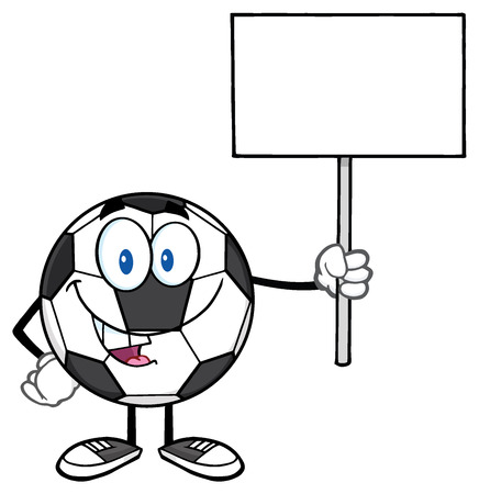 futbol: Soccer Ball Cartoon Mascot Character Holding A Blank Sign Stock Photo