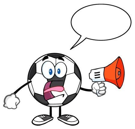 futbol: Soccer Ball Cartoon Mascot Character An Announcement Into A Megaphone With Speech Bubble