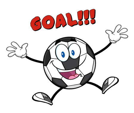 Happy Soccer Ball Cartoon Mascot Character Jumping With Text Goal