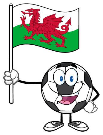 wales: Happy Soccer Ball Cartoon Mascot Character Holding A Flag Of Wales Stock Photo