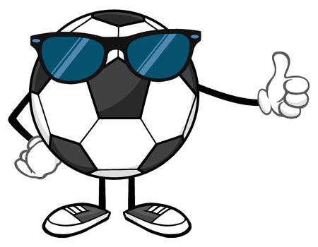 footy: Soccer Ball Faceless Cartoon Mascot Character With Sunglasses Giving A Thumb Up