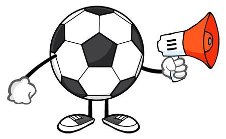 futbol: Soccer Ball Faceless Cartoon Mascot Character Using A Megaphone Stock Photo