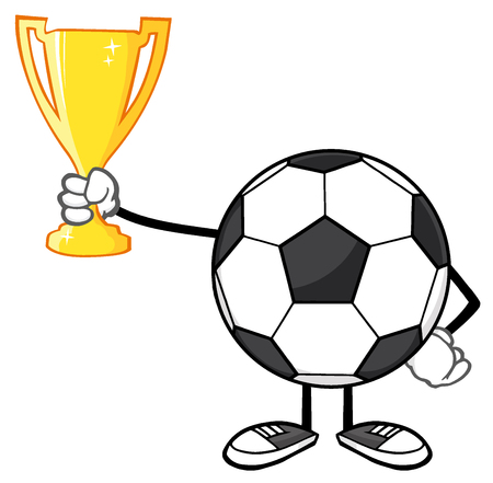 footy: Soccer Ball Cartoon Character Holding A Golden Trophy Cup Stock Photo