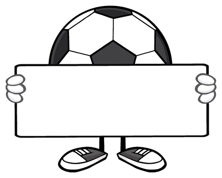 faceless: Soccer Ball Faceless Cartoon Mascot Character Holding A Blank Sign