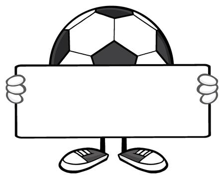 futbol soccer: Soccer Ball Faceless Cartoon Mascot Character Holding A Blank Sign