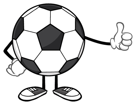 faceless: Soccer Ball Faceless Cartoon Mascot Character Giving A Thumb Up