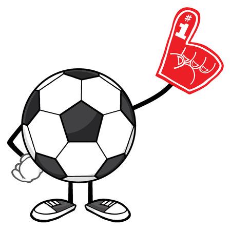 futbol soccer: Soccer Ball Faceless Cartoon Mascot Character Wearing A Foam Finger Stock Photo