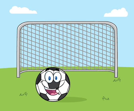 futbol: Smiling Soccer Ball Cartoon Mascot Character With Football Gate. Illustration With Background
