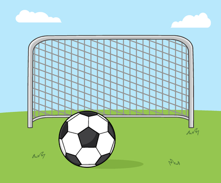 footy: Soccer Ball With Football Gate. Illustration With Background