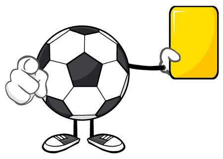 arbitros: La mascota de la historieta del balón de fútbol sin rostro árbitros de caracteres señala y que muestra la tarjeta amarilla