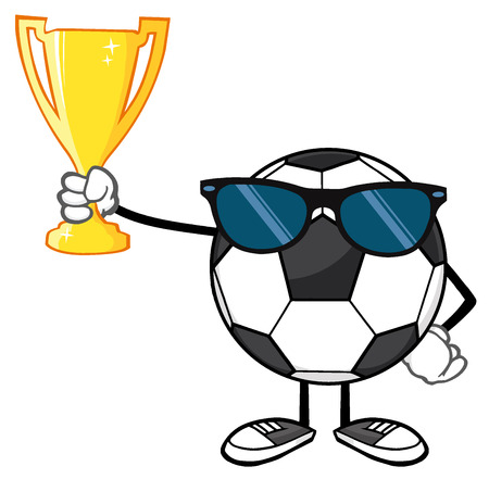futbol: Winner Soccer Ball Faceless Cartoon Character With Sunglasses Holding A Golden Trophy Cup