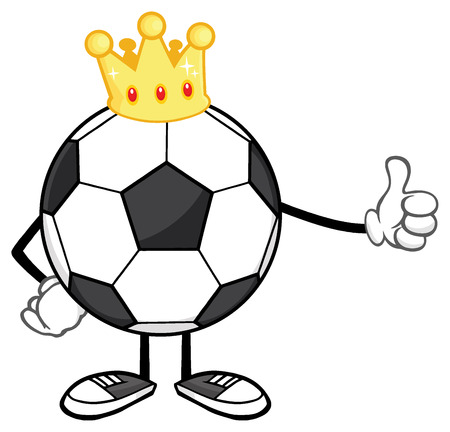 futbol: King Soccer Ball Faceless Cartoon Mascot Character With Golden Crown Giving A Thumb Up Stock Photo