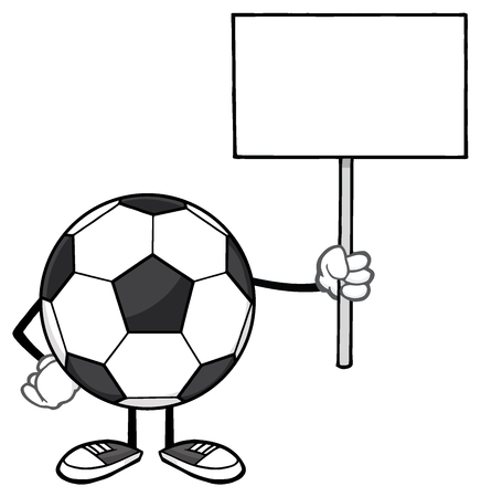 footy: Soccer Ball Faceless Cartoon Mascot Character Holding A Blank Sign