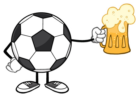futbol soccer: Soccer Ball Cartoon Mascot Character Holding A Beer Glass