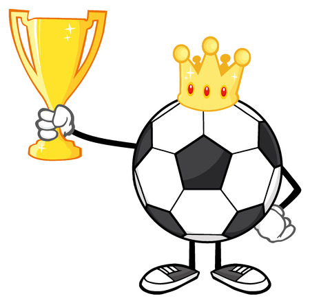 futbol soccer: King Soccer Ball Faceless Cartoon Character With Crown Holding A Golden Trophy Cup Stock Photo