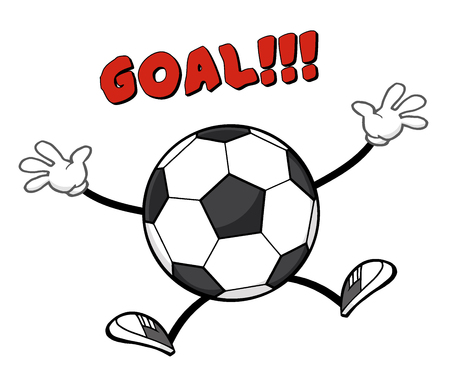 Soccer Ball Faceless Cartoon Mascot Character Jumping With Text Goal